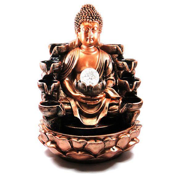 Fonte de Água Buda Dourado com 8 Quedas (40cm)