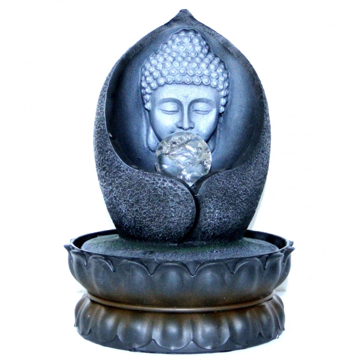 Fonte de Água Buda na Flor de Lótus com Esfera e LED (27cm)