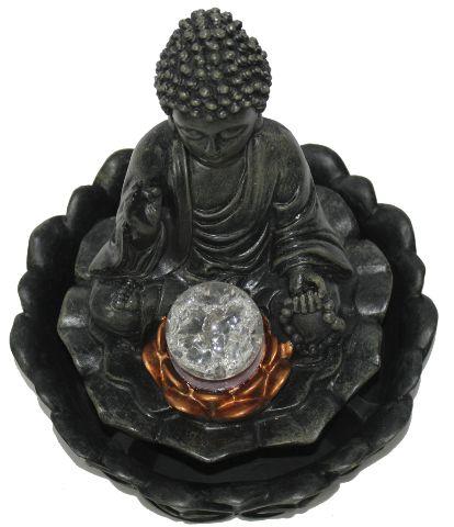 Fonte de Água Buda Sentado na Flor de Lótus (26cm)