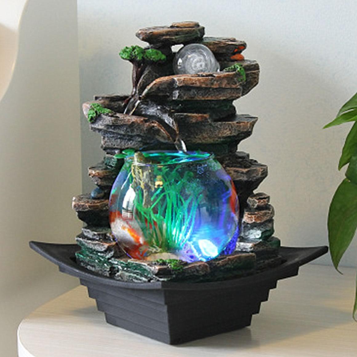 Fonte de Água Cascata com Aquário, Esfera e LED (27cm)