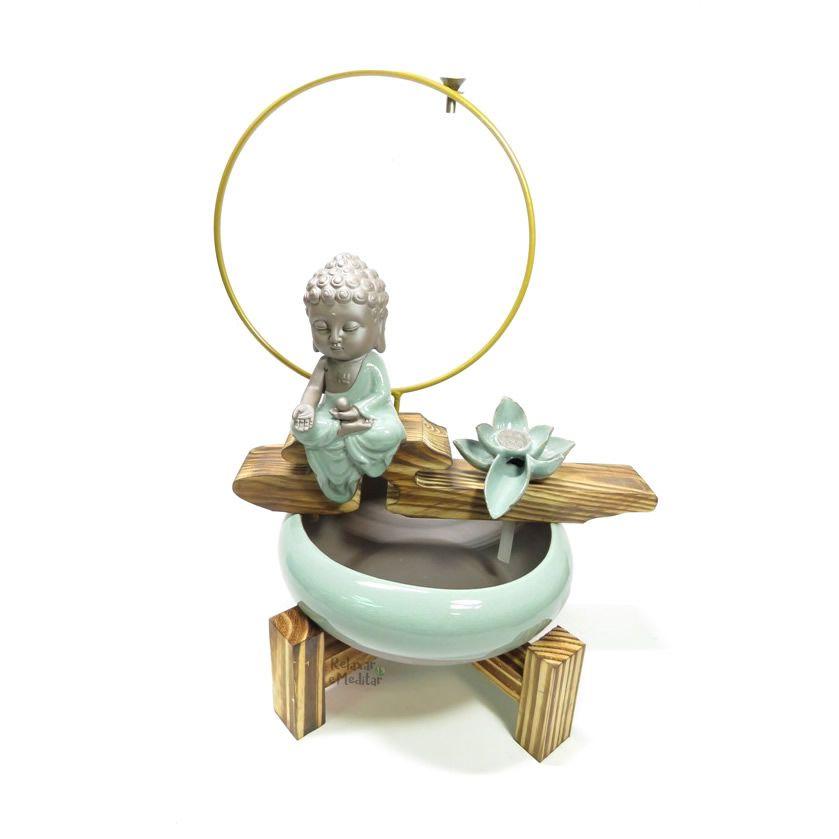 Fonte de Água com Cascata de Fumaça Buda e Flor de Lótus (45cm)