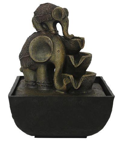 Fonte de Água Elefante com Filhote (18cm)