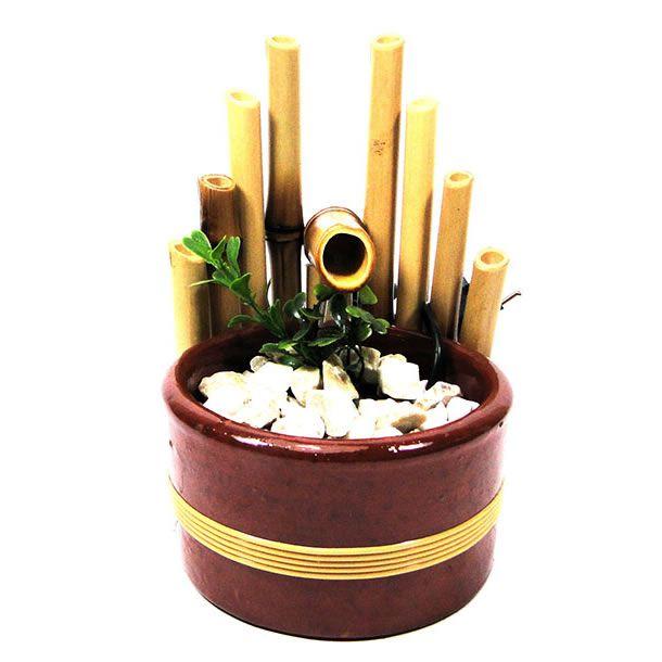 Fonte de Água em Bambu com Vaso de Cerâmica 1 Queda (Bi-Volt)