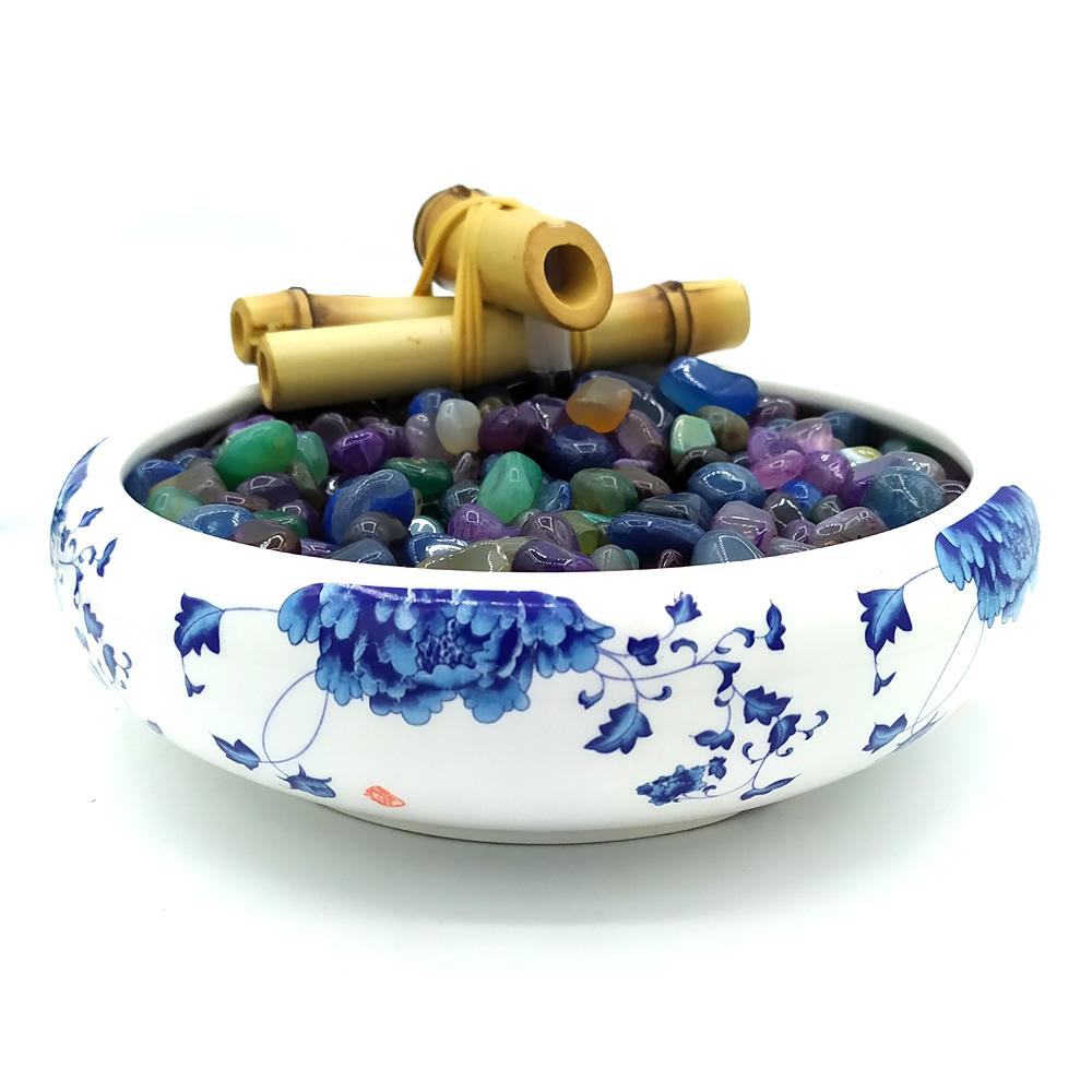 Fonte de Água em Cerâmica com Flores e Pedras Ágata (17cm)