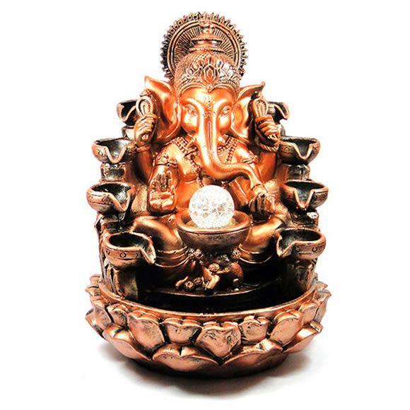 Fonte de Água Ganesha Dourado com 8 Quedas (Bi-Volt)