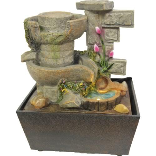 Fonte de Água Parede de Pedras com Flor e Roda (23cm)