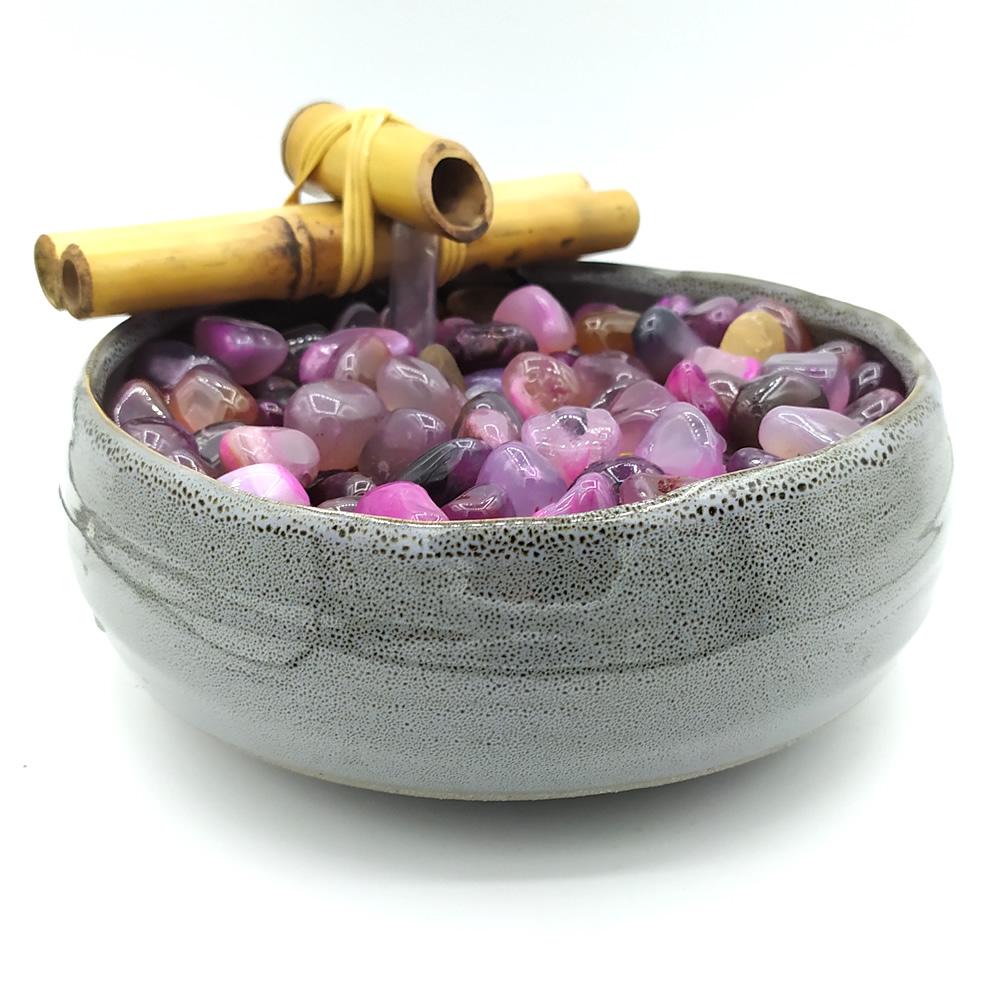 Fonte de Água Redonda em Cerâmica com Pedras Ágata (18cm)