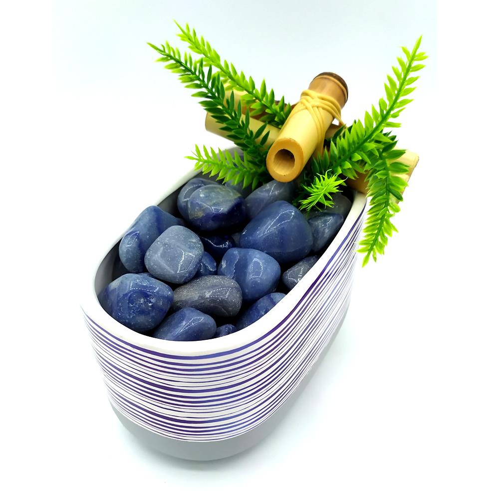 Fonte de Água Retangular em Cerâmica com Quartzo Azul (17cm)
