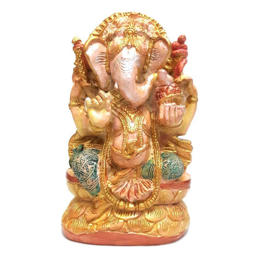 Ganesha com Pedestal de Pedras (15cm)