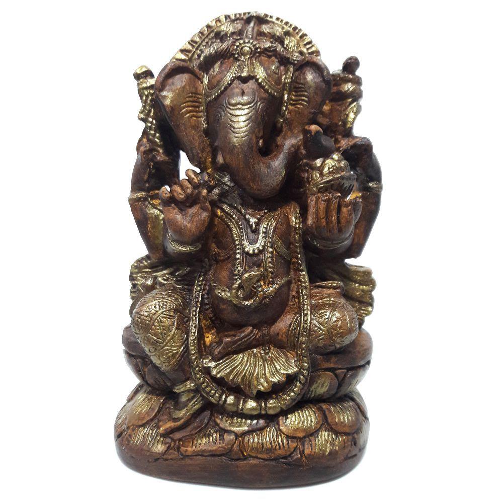 Ganesha com Pedestal e Pintura Efeito Madeira (15cm)