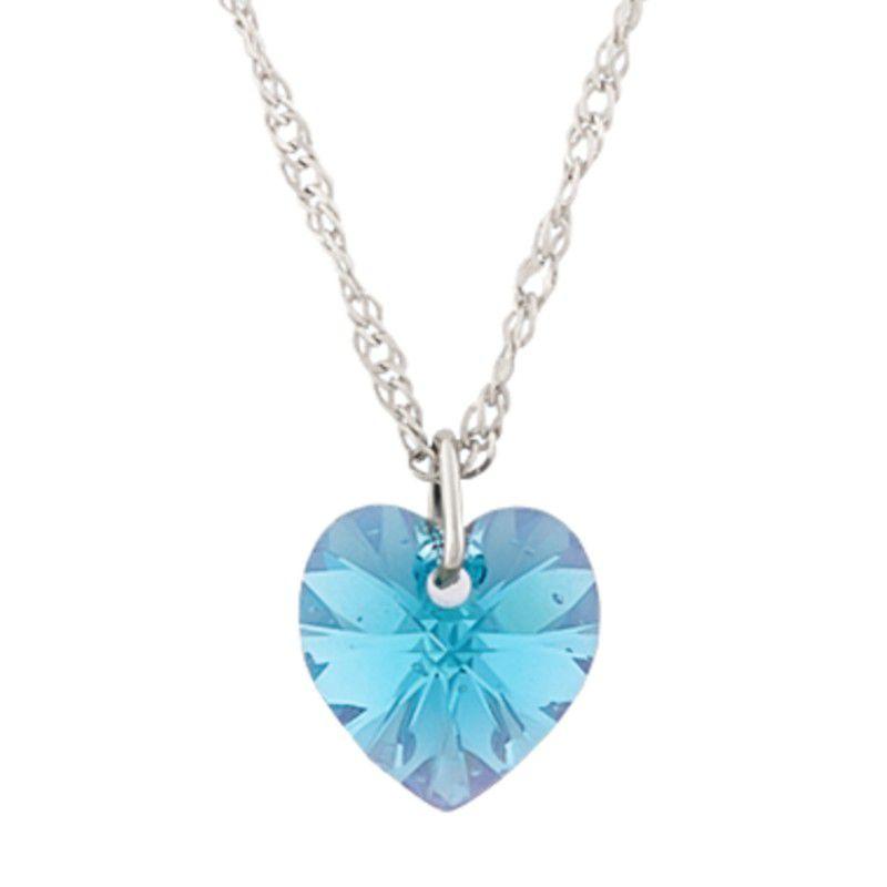 Gargantilha Coração Aquamarine AB com Cristal Swarovski (10mm)
