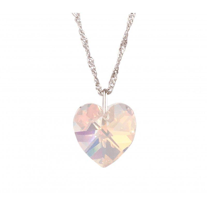 Gargantilha Coração Aurora Boreal AB com Cristal Swarovski (10mm)