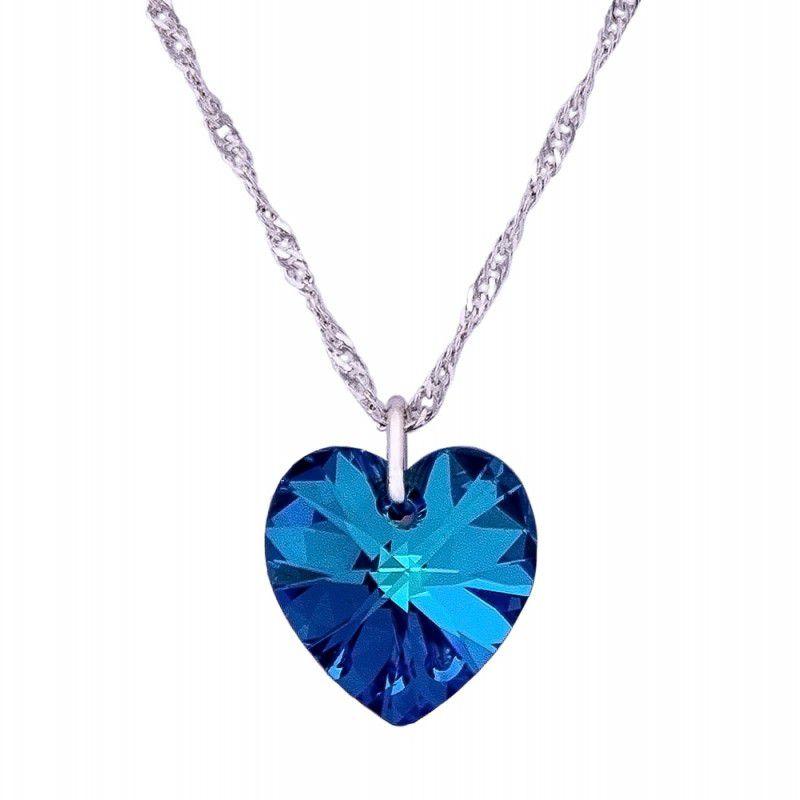 Gargantilha Coração Bermuda Blue com Cristal Swarovski (10mm)