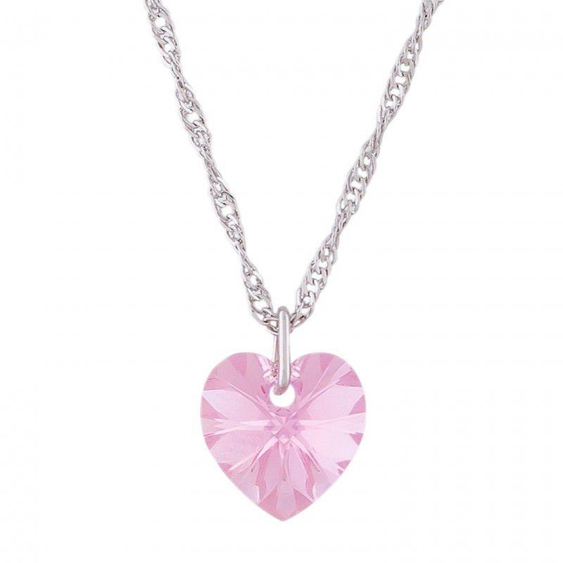 Gargantilha Coração Light Rose AB com Cristal Swarovski (10mm)