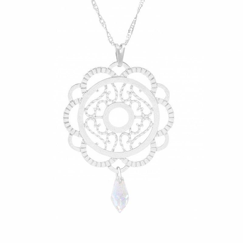 Gargantilha Mandala com Pingente Cristal (33mm)
