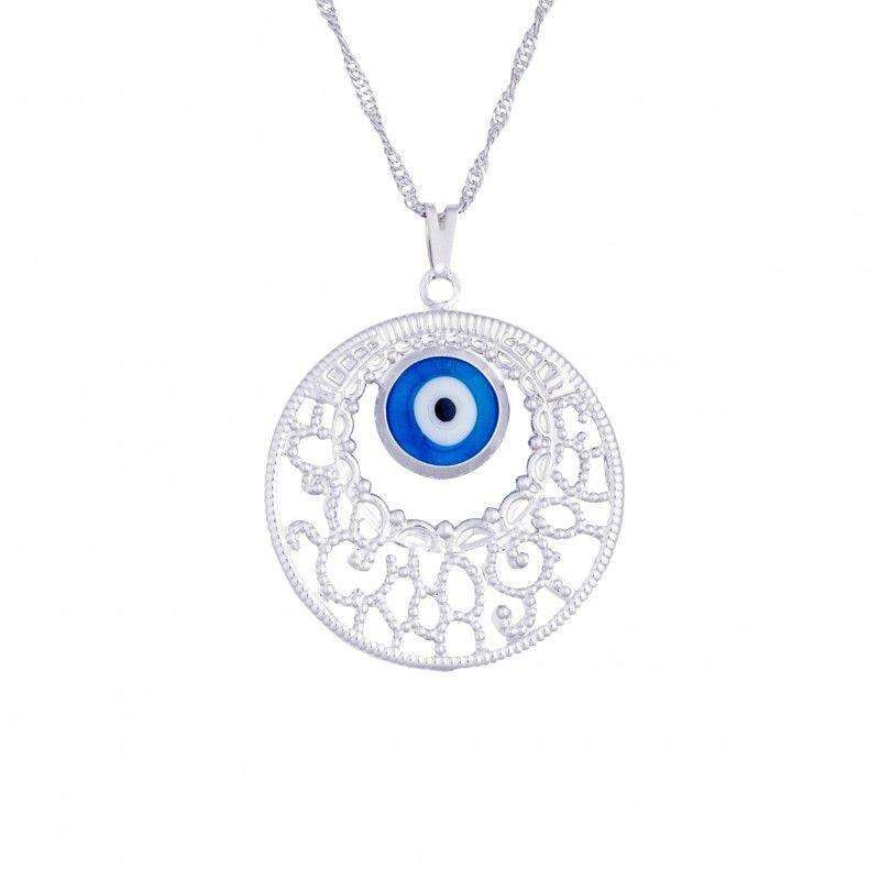 Gargantilha Mandala Redonda com Olho Grego (30mm)