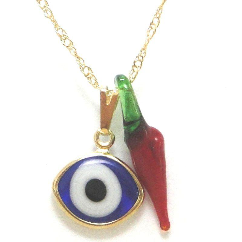 Gargantilha Olho Grego e Pimenta (12mm)