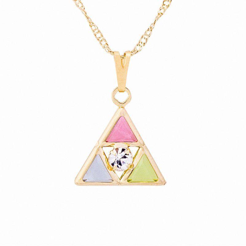Gargantilha Triângulo com Pedras Coloridas (15mm)
