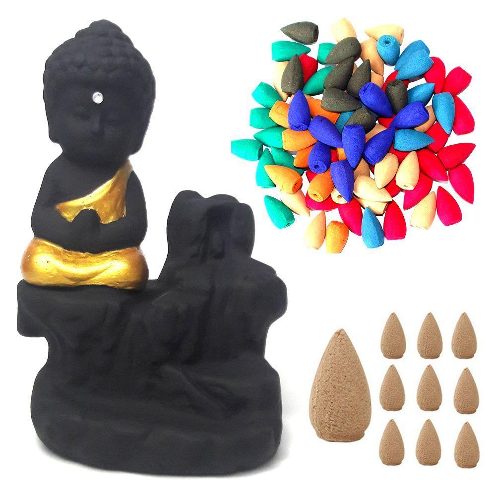 Incensário Cascata com Monge da Gratidão com 50 Incensos Cone
