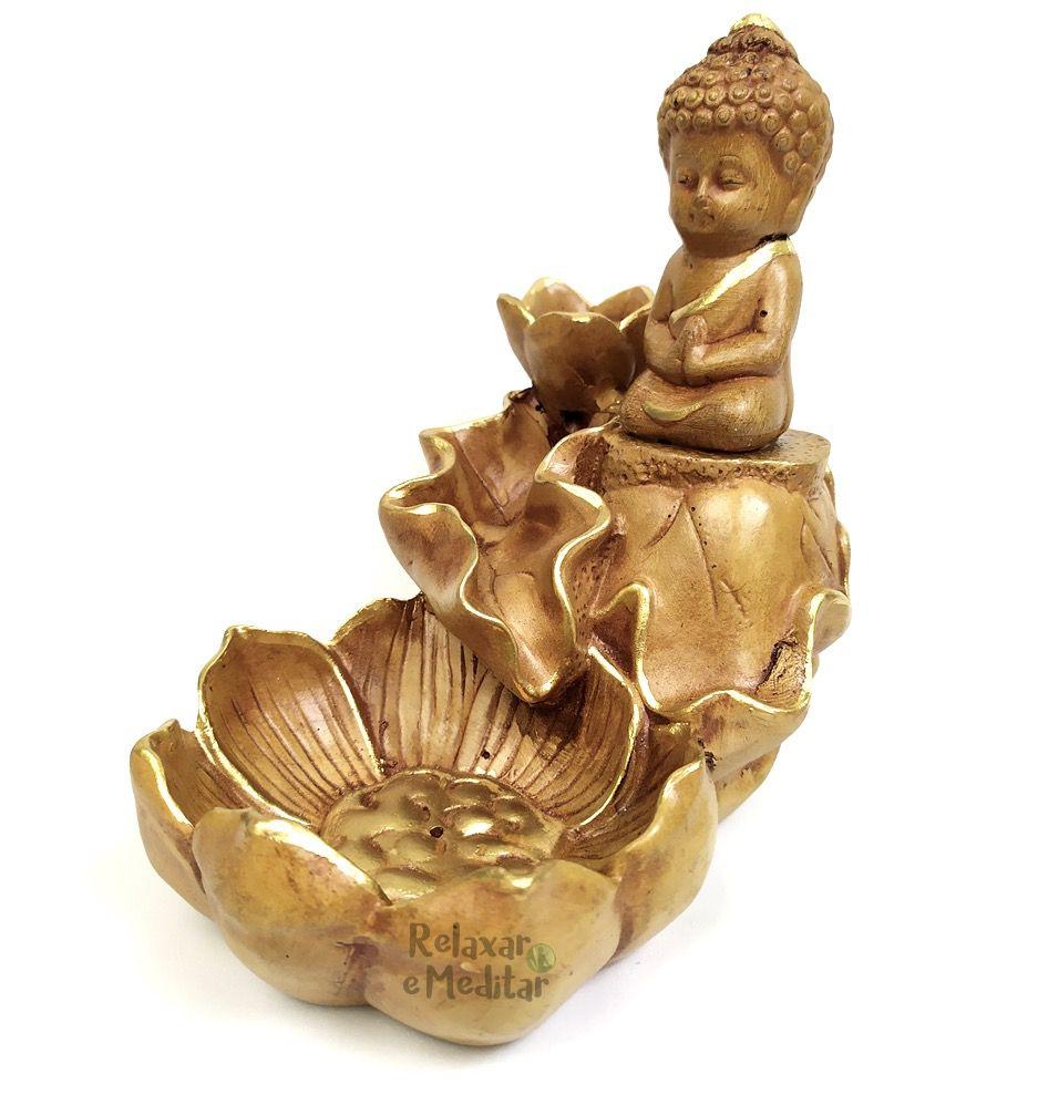 Incensário Cascata de Fumaça Buda Baby com Flor de Lótus