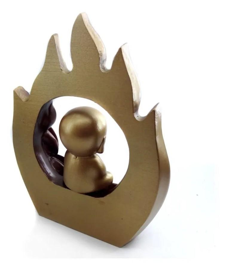 Incensário Cascata de Fumaça com Monge no Arco de Fogo Dourado (20cm)
