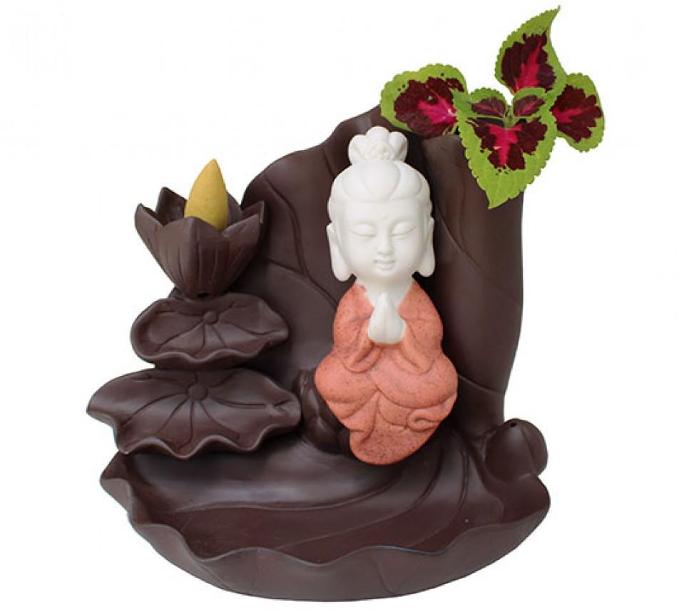 Incensário Cascata de Fumaça Kuan Yin com Flores e Vaso