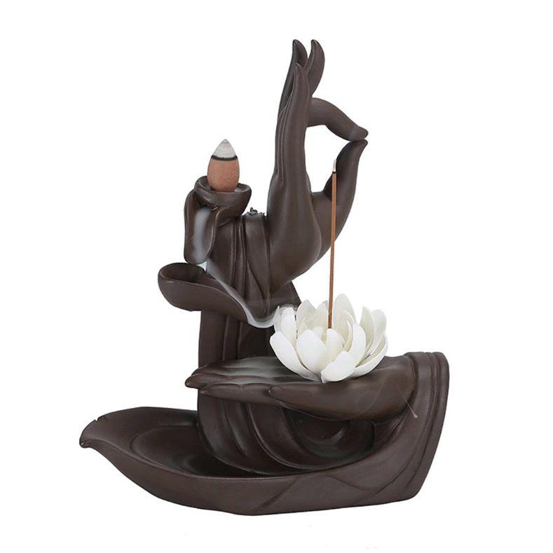 Incensário Cascata de Fumaça Mãos de Buda com Flor de Lótus