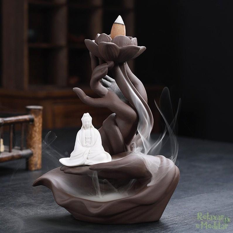 Incensário Cascata de Fumaça Mãos de Buda com Kuan Yin