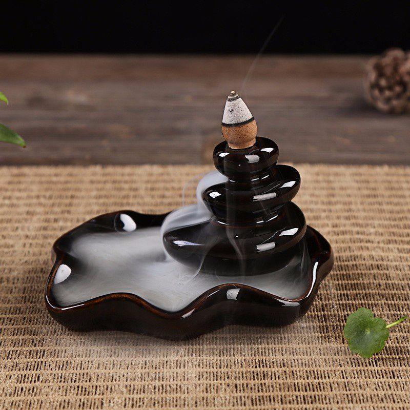 Incensário Cascata de Fumaça Pedras com Folha