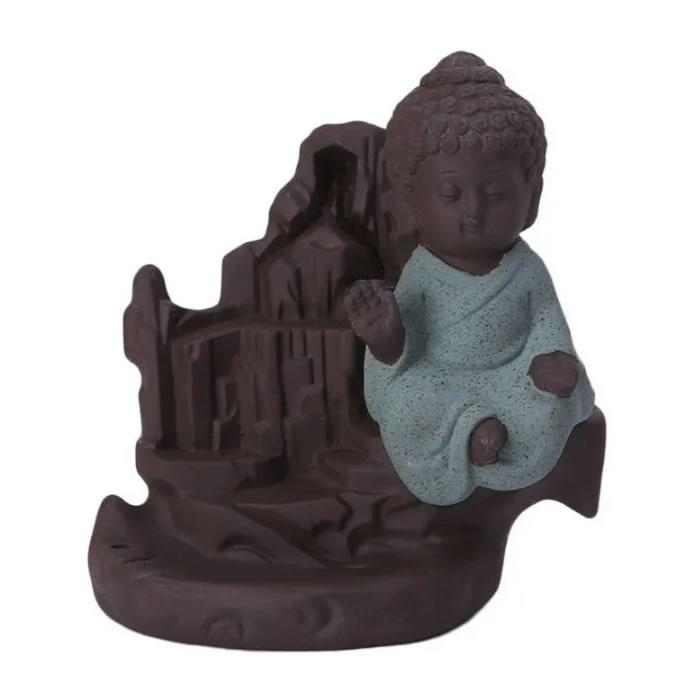 Incensário Cascata em Cerâmica com Monge da Benção
