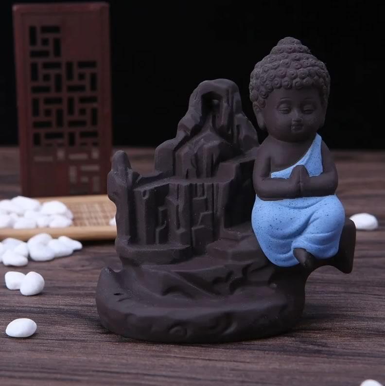 Incensário Cascata em Cerâmica com Monge da Gratidão