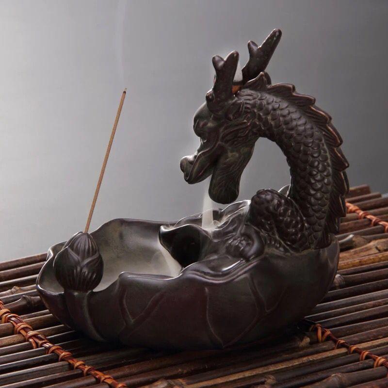 Incensário Dragão Guardião Cascata de Fumaça