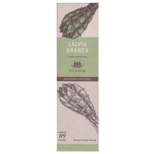 Incenso Natural Sálvia Branca 100% Natural (9 Varetas)