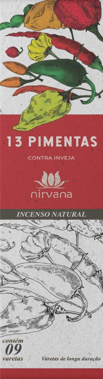 Incenso Natural Treze Pimentas 100% Natural (9 Varetas)