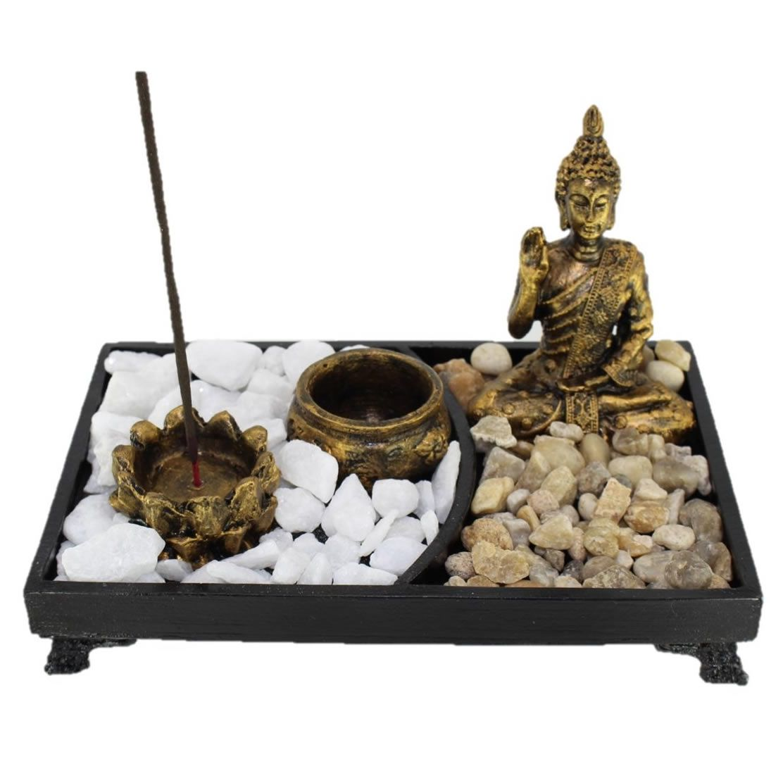 Jardim Zen Buda Nirvana com Pedras, Porta Incensos e Porta Velas