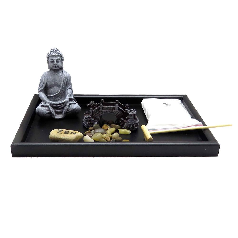 Jardim Zen com Buda, Pedras e Ponte Oriental em Miniatura