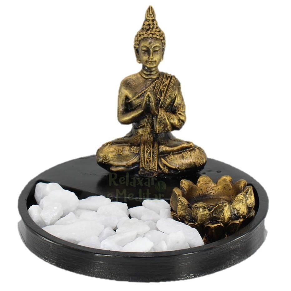 Jardim Zen Buda Nirvana com Pedras e Porta Incensos