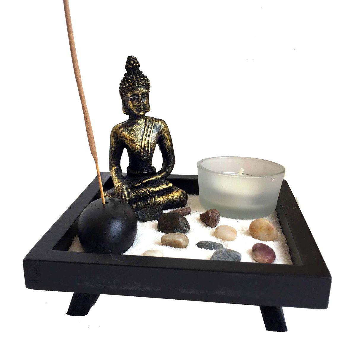 Jardim Zen com Buda, Porta Incensos e Castiçal