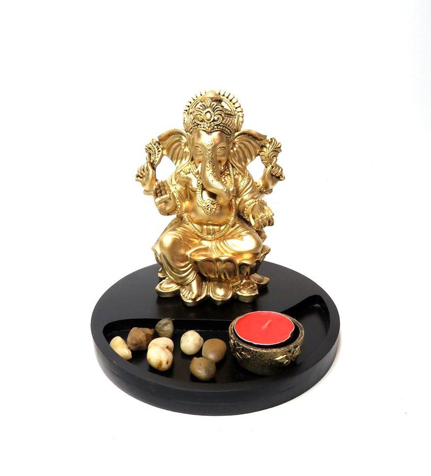 Jardim Zen com Ganesha Dourado (18cm)