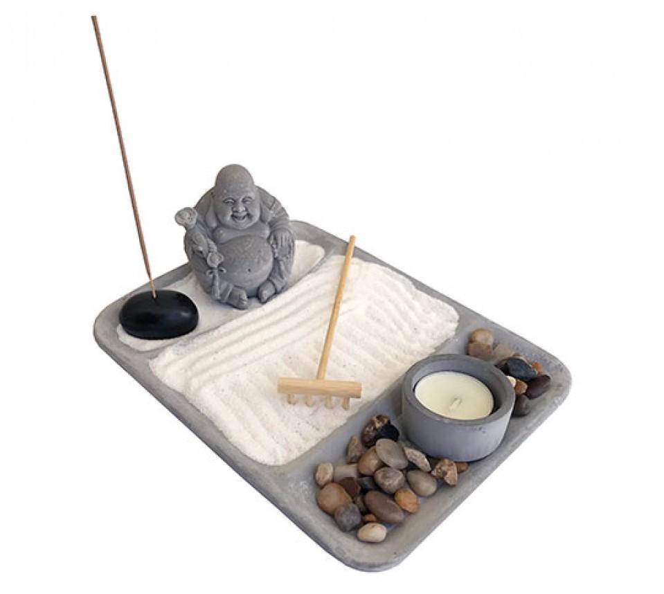 Jardim Zen em Cimento com Buda da Prosperidade