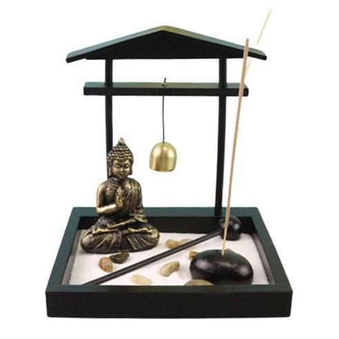 Jardim Zen Portal com Buda, Porta Incensos e Sino