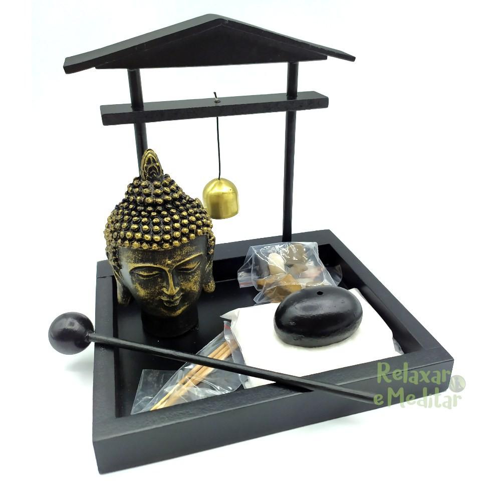 Jardim Zen Portal com Cabeça de Buda, Porta Incensos e Sino