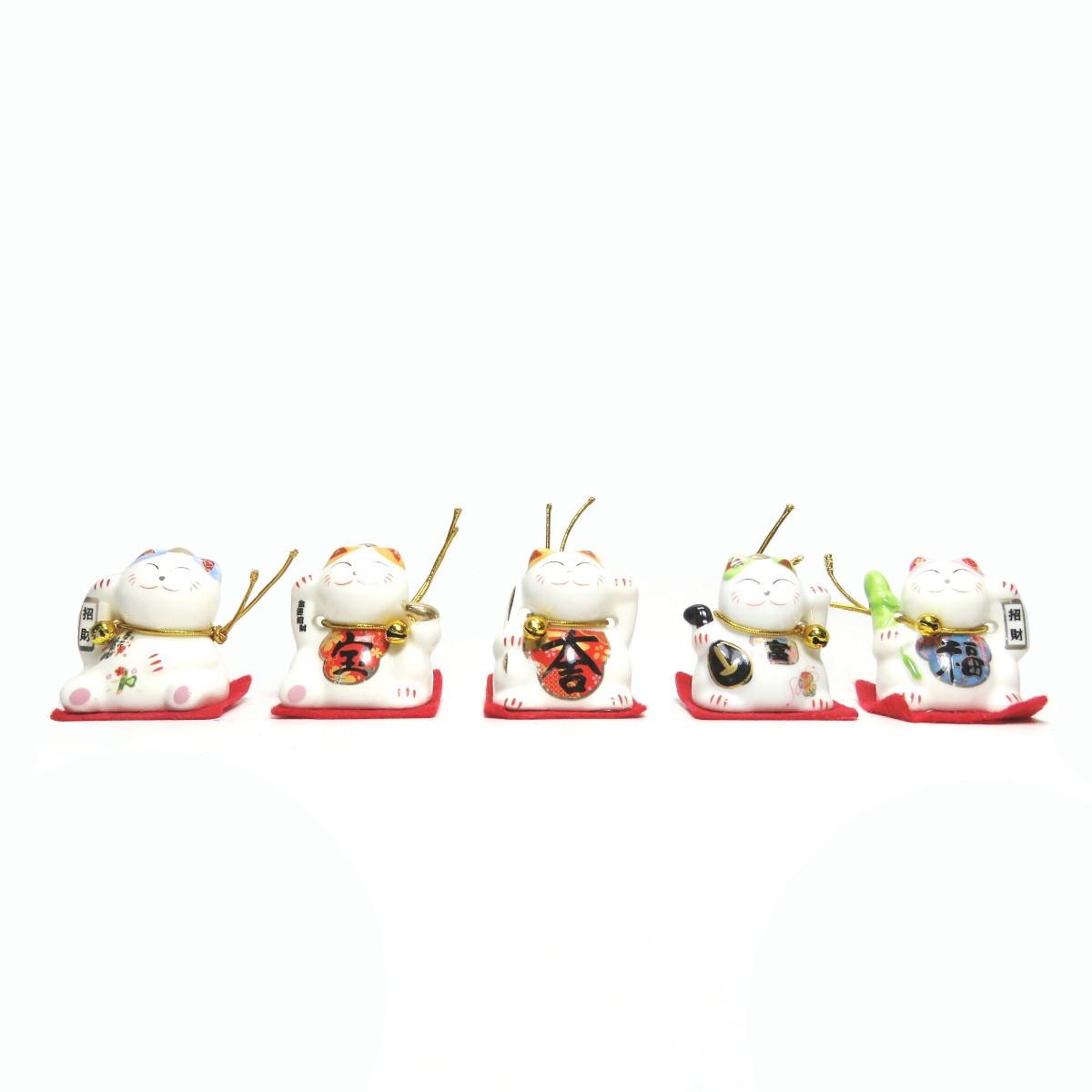 Kit com 5 Manekineko Gato da Sorte em Porcelana