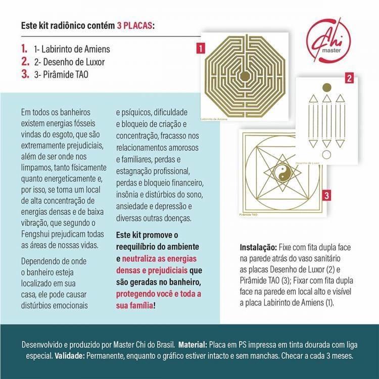 Kit de Placas Radiônicas Proteção no banheiro