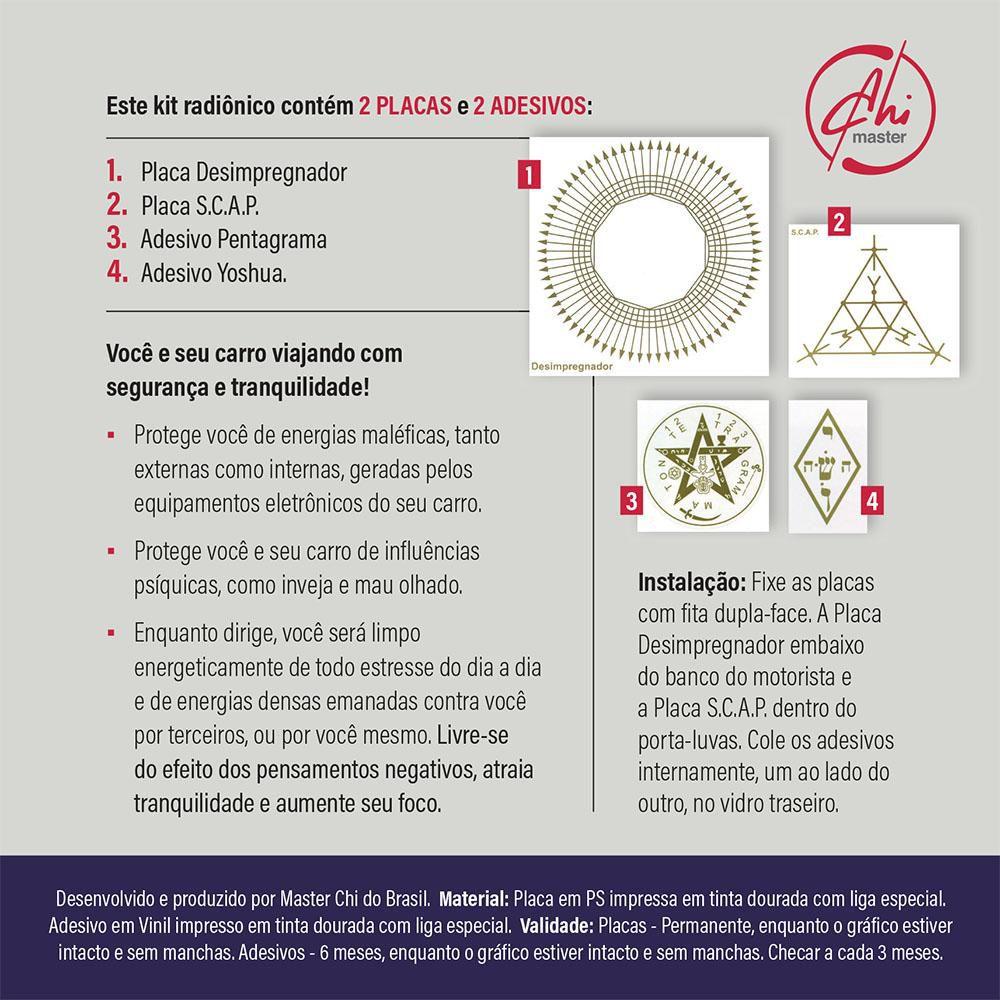 Kit de Placas Radiônicas Proteção no Carro