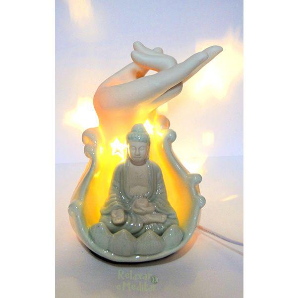 Luminária em Porcelana com Buda e Mudra da Coragem (24cm)