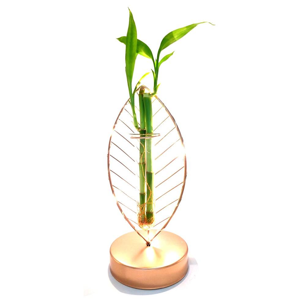 Luminária LED Folha em Metal com Bambu da Sorte (22cm)