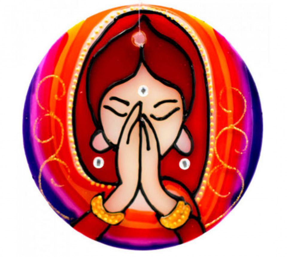 Mandala em Vidro Namastê P (10cm)