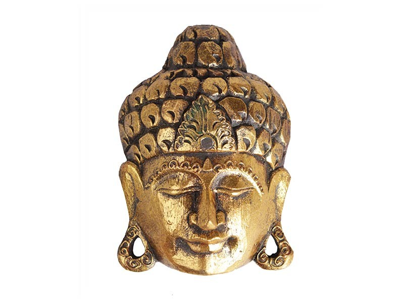 Máscara Artesanal Buda Gold em Madeira (20cm)