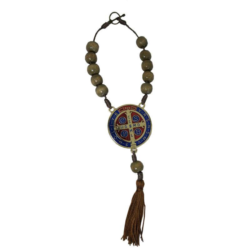 Medalha de São Bento com Dezena em Madeira